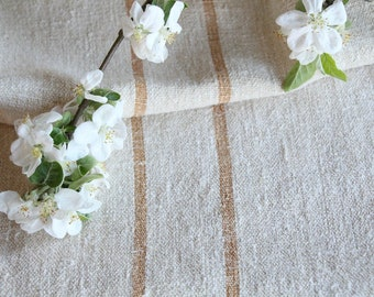 F 478: antique handloomed LIGHT HAZELNUT, 48.03 long, old linen fabric, grainsack for pillows cushions runners , vintage fabric