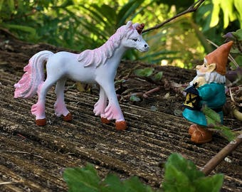 Pink and White Miniature Unicorn Figurine, Fairy Garden/Dollhouse Accessory