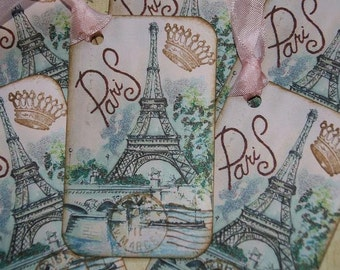 Meet Me In Paris at the Eiffel Tower Handmade Gift Tags