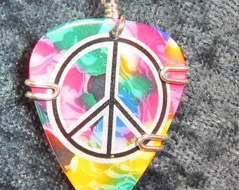 Tye Dyed Guitar Pick Necklace