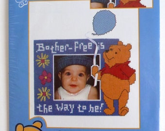 Pooh with Balloon Counted Cross Stitch Kit - Pooh Picture Frame Design - Cross Stitch Nursery Picture Frame - Pooh Nursery Decoration
