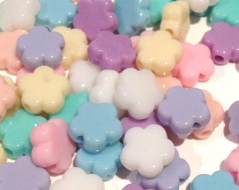 30 cute plastic candy pastel flat flower shaped beads