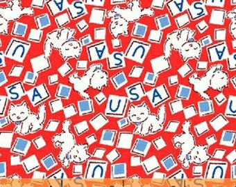 Storybook Americana - USA Cats in Red - Cotton Kitty Cat Quilt Fabric - by Whistler Studios for Windham Fabrics - 42347-1 (W4229)