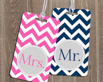 Luggage Tag Set Mr & Mrs Newlyweds Wedding Gift Luggage Custom Monogram Luggage Tag Set - Personalized Couples Engagement Shower Gift!