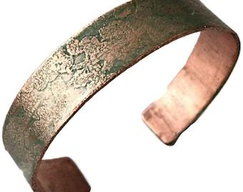 Christmas Jewelry for Her, Green Copper Bracelet, Copper Bracelet Personalized, Personalized Christmas Gift for Her, Personalized Christmas