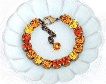 Orange and Yellow Swarovski Crystal Bracelet, Orange Rhinestone Bracelet, Rhinestone Jewelry, Crystal Tennis Bracelet Adjustable, Delyth