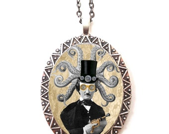 Victorian Steampunk Edgar Allan Poe Necklace Pendant Silver Tone - Altered Art Octopus Pop Surrealism