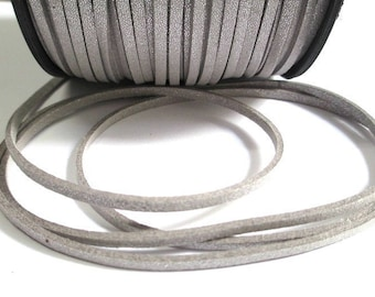 silver look suede 3 mm suede cord 3 m