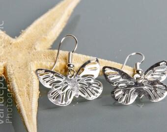 Silver metal butterfly earrings
