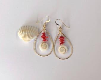 Gold Teardrop Hoop, Shiva Shells, Red Coral