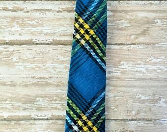 Turquoise plaid necktie, boys necktie, baby neck tie, boys plaid tie, kids plaid tie, pre-tied necktie, blue necktie