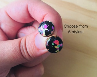 80s Lycra Resin / Wood Stud Earrings • Various Sizes • Surgical Steel • Hypoallergenic • Pink • Black • Yellow • Green • Statement