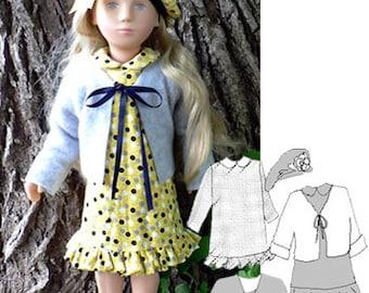 Sasha clothes pattern - 16 inch Sasha doll sewing - A-line Dress & Cardigan PDF 85112