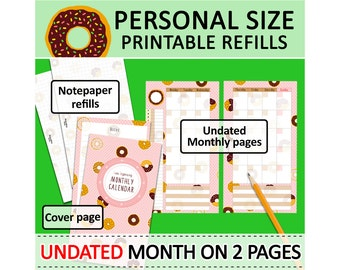PRINTABLE Personal Size Month On Two Pages & Notepaper Cute Kawaii Doughnuts for Filofax Organizer Planner Instant Download