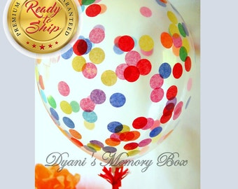 Set of 6 Clear Confetti-Filled Balloons / Choose your colors / Biodegradable Latex Balloon / Confetti Balloons / Rainbow Party Decor