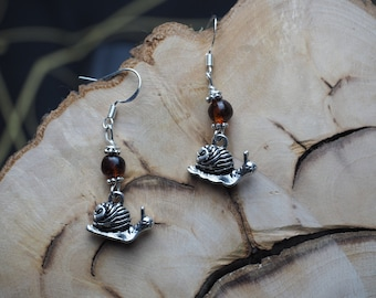 Snail & Baltic Amber Witches Earrings - Good Fortune - Pagan, Wicca, Traditional Witchcraft, Good Fortune