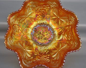 Carnival Glass Fenton LOTUS & POINSETTIA (Waterlily) Dark Marigold Ruffled Footed Bowl