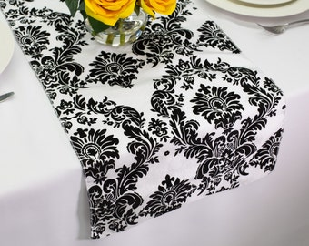 Victorian Flocking Damask White And Black Table Runner | Wedding Table  Runners