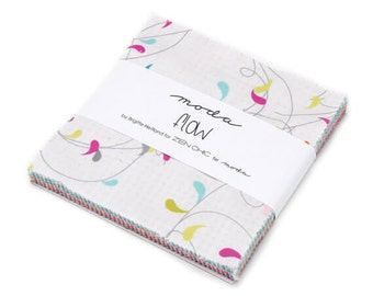 Flow - Moda Charm Pack Fabric - Modern Fabric Brights Collection - Brigitte Heitland for Zen Chic Quilt Fabrics - 5 inch fabric squares 159