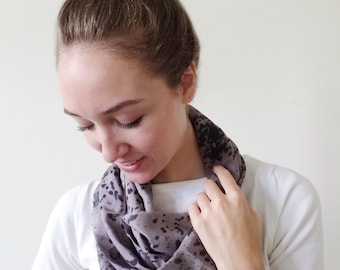 Gray Scarf-Black Scarf-Infinity Scarf-Silk-Scarf-Scarves-Scarves for Fall-Scarves for Summer--Scarves for Spring-Holiday Gift-Gift for My