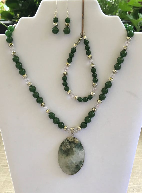 Moss Agate Pendant with Jade and Quartz Necklace Set