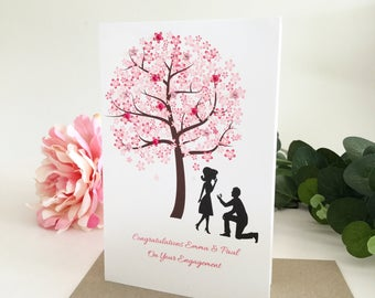 Personalised Engagement Card Handmade, Engagement Gift, Congratulations Card, Engaged Gifts, Happy Engagement Card, Cherry Blossom Tree,Pink