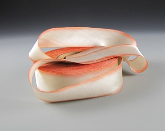 "1"" PEACH WEDDING SILK SatinvRibbon Hanah Peaches and Cream 3 yd length"