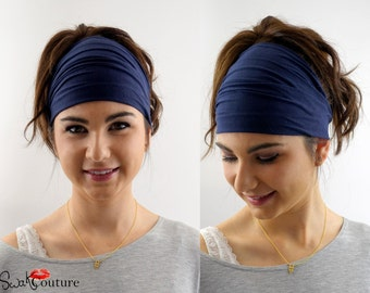 Wide Headband, Stretchy Cotton Jersey Headband Navy Blue Women's Workout Yoga HeadBand Hair Wrap - Choose Your Color