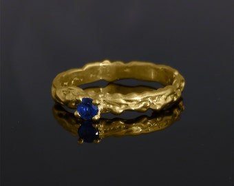 Engagement ring, Sapphire engagement ring, Unique engagement ring, Solitaire engagement ring,  Sapphire yellow gold ring, Boho gold ring