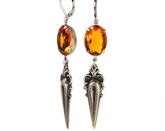 Antique Style Earrings Victorian Spike Design with Prong Set Golden Topaz Swarovski Crystals Darkly Elegant in Antiqued Silver
