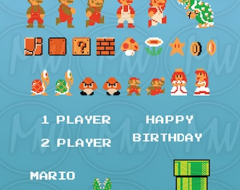 Super Mario Bros, Clipart, Mario, Pixels, 8-bit, Vector, Classic, Game, Art, Digital, Stamp, Scrapbook, Instant Download, Clip art, #081