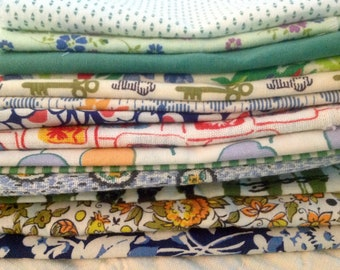 Vintage Cotton fabric pieces for repurposing - 8 ounces - feedsack and cotton percale