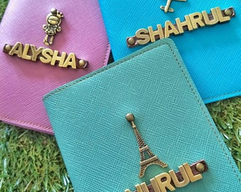 Personalized Saffiano Passport Holder With Alphabet Charm