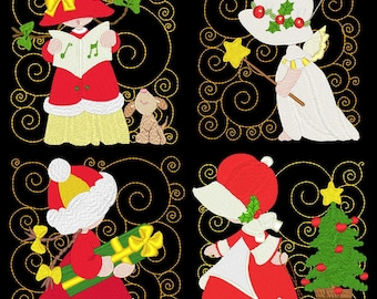 SUNBONNET CHRISTMAS (5inch) - 12 Machine Embroidery Designs Instant Download 5X5 hoop (AzEB)