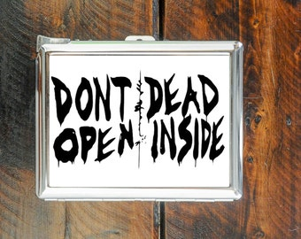 cigarette case don't open dead inside walking dead quote wallet card money holder cigarettes box