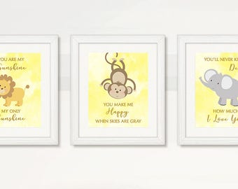 BEAUTIFUL Boy Nursery Wall Art, Boy Nursery Room, Watercolor, Lion Monkey Elephant, Instant Download, Baby Safari Animals, Wild