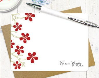 personalized note card set - CHEERY CHERRY BLOSSOMS - set of 12 flat note cards - stationery - custom stationary