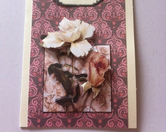 condolence card pink white and pink rose