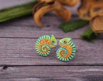 Little Chameleon Stud Earrings Colorful Lizard Chameleons Earrings 4 matte