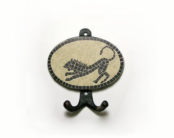 wall hook handmade mosaic with ceramic black and beige tiles 5mm ( 5,12 in x 5,51 in ) - black lion