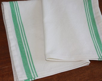 Green Striped Cotton Tea Towel  - Different Lengths Available