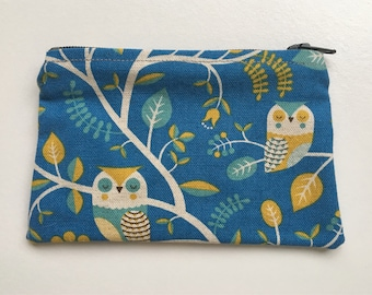 Change Purse coin pouch owl bird canvas lined