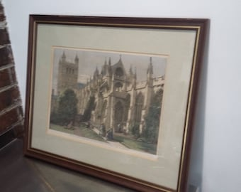 Very Large Original Coloured Print Exeter Cathedral