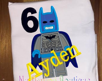 Batman Lego Birthday shirt or infant bodysuit embroidery and applique