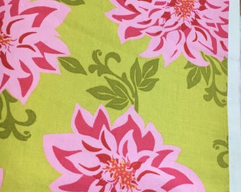 Sandi Henderson for Michael Miller Fabrics, Farmers Market, Dahlia in green and pink. Sold by the FQ.