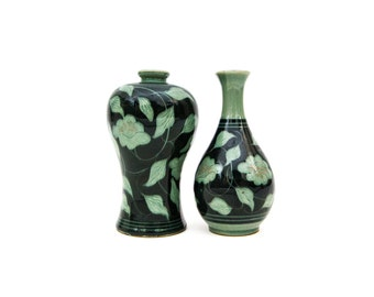 A Pair of Korean Black Slip Celadon Vases