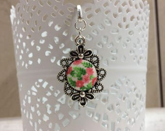 Floral bookmark, polymer clay bookmark, pink bookmark, embroidery, filigree
