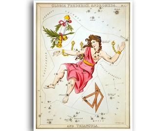 Andromeda Astrology Art Vintage Zodiac Print Horoscope Poster (AS1)