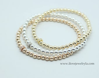 Beaded Bracelet with Small CZ Stone in 14k Gold Filled and Sterling Silver Rose Gold-filled, Stretch Bracelet,  layering bracelet