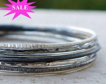 Silver bangles set of 7, skinny stacking bangles, hammered bangles, silver bangles bracelet, silve bracelet. SALES 15%OFF